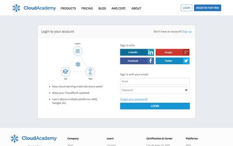 Screenshot of Login Page cloudacademy.com - Login in CloudAcademy, learn how to use cloud computing and test your skills - captured Sept. 19, 2014