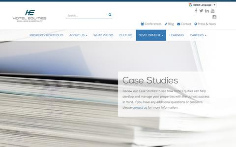 Screenshot of Case Studies Page hotelequities.com - Our Hotel Management Case Studies - captured July 23, 2018