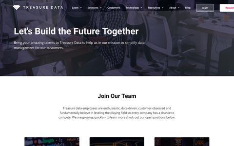 Screenshot of Jobs Page treasuredata.com - Careers - Treasure Data - captured April 24, 2018