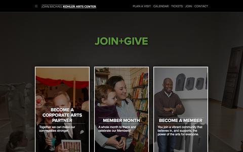 Screenshot of Signup Page jmkac.org - Join+Give - John Michael Kohler Arts Center - captured Oct. 16, 2017