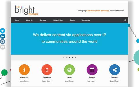 Screenshot of Home Page brightelecom.com - BrightTelecom - Bridging Communication Solutions Across Mediums - captured Feb. 8, 2016