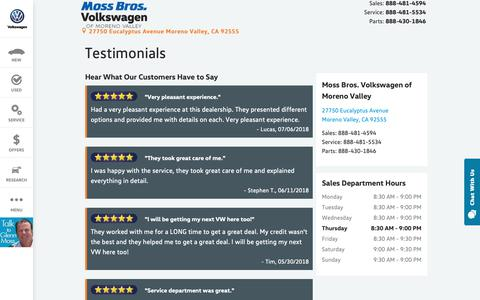 Screenshot of Testimonials Page mossbrosvwofmorenovalley.com - Moss Bros. Volkswagen of Moreno Valley | New Volkswagen dealership in Moreno Valley, CA 92555 - captured Oct. 18, 2018