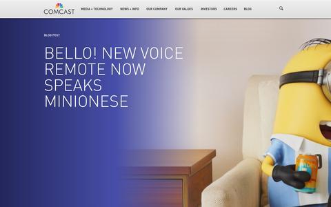 Screenshot of Press Page comcast.com - Media + Technology - captured July 3, 2015