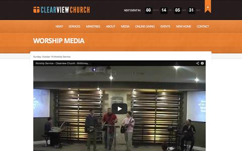 Screenshot of Press Page clearviewfwb.com - Worship Media | CLEARVIEW CHURCH - captured Nov. 2, 2014