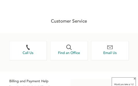 Screenshot of Support Page amica.com - Customer Service | Amica - captured Feb. 15, 2020