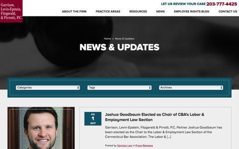 Screenshot of Press Page garrisonlaw.com - News & Updates | Garrison, Levin-Epstein, Fitzgerald & Pirrotti, P.C. - captured July 15, 2017
