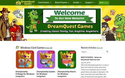 Screenshot of Home Page dreamquestgames.com - DreamQuest Games - Creating classic family fun. Anytime. Anywhere. - captured Sept. 30, 2014