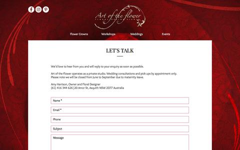 Screenshot of Contact Page artoftheflower.com.au - Contact | Art of the Flower | Asquith Florist | Amy Harrison - captured July 30, 2018