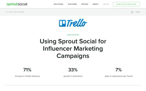 Screenshot of Case Studies Page sproutsocial.com - Using Sprout for Influencer Marketing Campaigns | Sprout Social - captured March 2, 2017