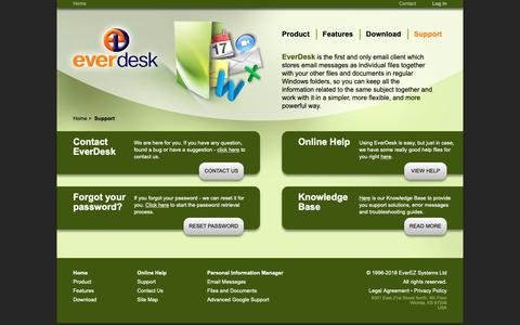 Screenshot of Support Page everdesk.com - Support - captured Sept. 29, 2018