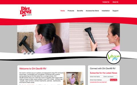 Screenshot of Home Page dirtdevilrv.com - Dirt Devil® Central Vacuum Systems for RV's, Boats - captured Sept. 3, 2015