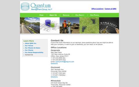 Screenshot of Locations Page qmg-inc.com - Quantum Management Group | Contact Us - captured Feb. 1, 2016