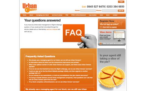 Screenshot of FAQ Page urbanowners.co.uk - FAQs | Block Management | Right to Manage - captured Oct. 7, 2014