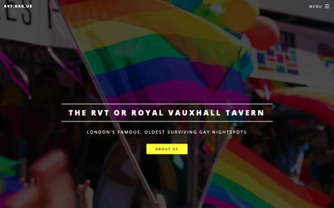 Screenshot of Home Page rvt.org.uk - LGBTQ community | London Nightspots | Gay/LGBT - captured Oct. 19, 2018