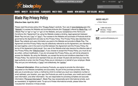 Screenshot of Privacy Page bladeplay.com - Privacy Policy - Blade Play - captured Sept. 25, 2014