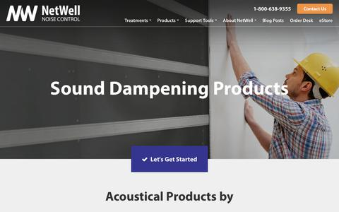 Screenshot of Products Page controlnoise.com - Sound Insulation + Dampening Products | NetWell - captured Sept. 23, 2018