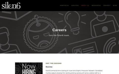 Screenshot of Jobs Page silen6.com - Careers — Silen6 Commercial Arts - captured Nov. 29, 2016