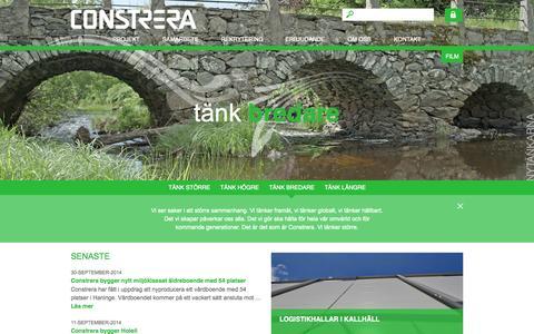 Screenshot of Home Page constrera.se - Constrera | Nytänkarna inom komplexa byggnationer - captured Oct. 2, 2014