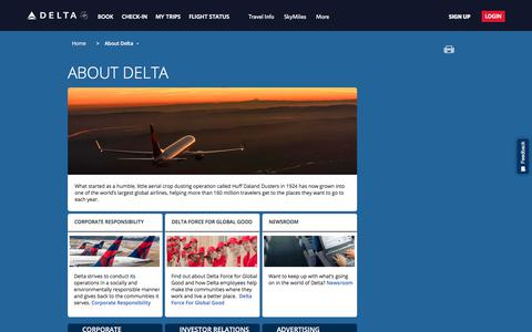 Screenshot of About Page delta.com - About Delta : Delta Air Lines - captured July 26, 2018