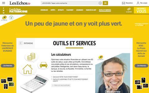 Screenshot of Services Page lesechos.fr - Calculateurs, lettres types, Guides pratiques Les Echos Patrimoine - captured Dec. 2, 2015