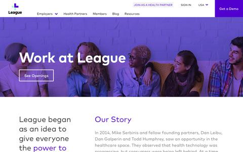 Screenshot of Jobs Page league.com - League | Work at League - captured July 8, 2017