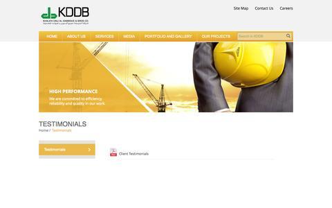 Screenshot of Testimonials Page ekddb.com - KDDB - captured Oct. 6, 2014