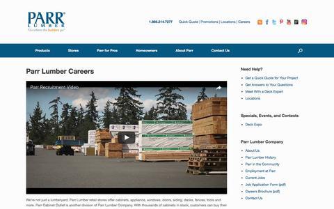 Screenshot of Jobs Page parr.com - Parr Lumber Careers | Parr Lumber - captured April 13, 2017