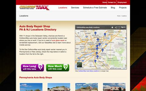 Screenshot of Locations Page collisionmax.com - Auto Body Repair Service PA NJ | Eastern PA & South Jersey | CollisionMax - captured Sept. 30, 2014