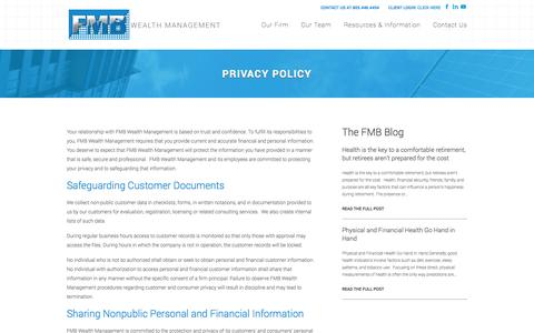 Screenshot of Privacy Page fmbwealth.com - Privacy Policy | FMB Wealth Management - captured Oct. 5, 2014