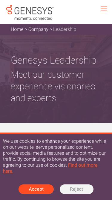 Screenshot of Team Page  genesys.com - Leadership Team – Contact Center Industry Leaders | Genesys