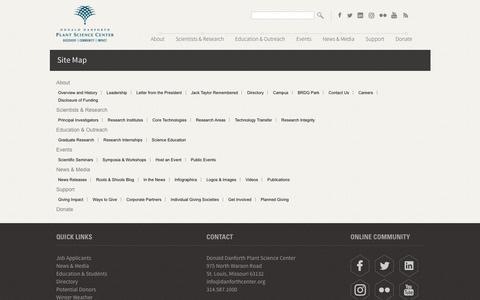 Screenshot of Site Map Page danforthcenter.org - Sitemap - captured Nov. 24, 2016