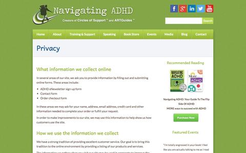 Screenshot of Privacy Page navigatingadhd.com - Privacy | Navigating ADHD Centerville, MA 02632 - captured Feb. 15, 2016