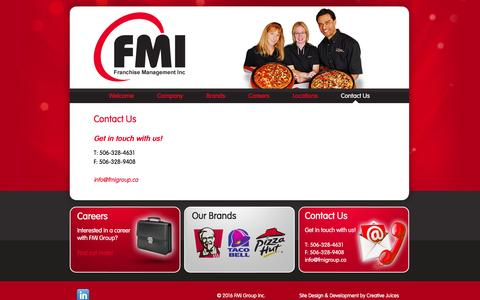 Screenshot of Contact Page fmigroup.ca - Contact Us  |  FMI Group - captured Feb. 9, 2016