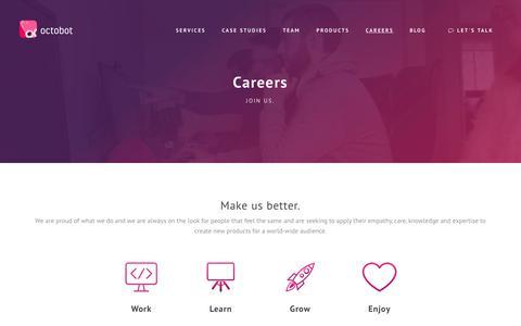 Screenshot of Jobs Page octobot.io - Octobot - Careers - captured Nov. 7, 2017