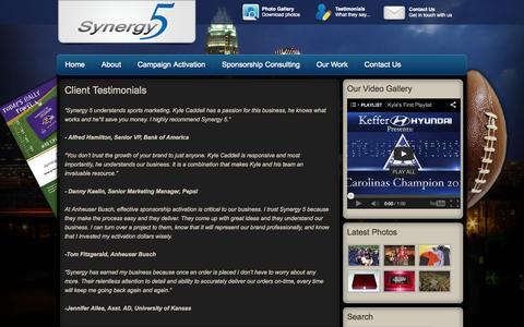 Screenshot of Testimonials Page synergy5.com - Client Testimonials - captured Oct. 9, 2014