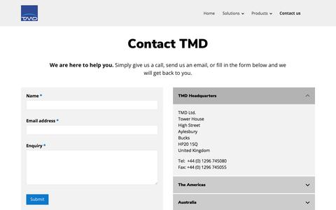 Screenshot of Contact Page tmd.tv - Contact TMD | Transmedia Dynamics | TMD - captured Aug. 12, 2019