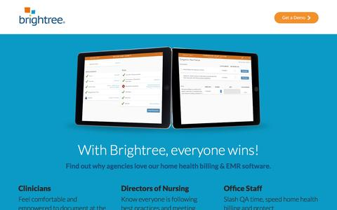Screenshot of Landing Page brightree.com - Brightree Home Health Billing Software - captured Oct. 21, 2016