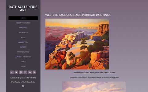 Screenshot of Home Page solleroriginals.com - Ruth Soller Western Landscapes and Portraits - captured Feb. 22, 2016