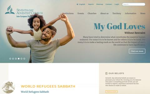 Screenshot of Menu Page adventist.org - The Official Site of the Seventh-day Adventist Inter-European Division - captured July 4, 2018
