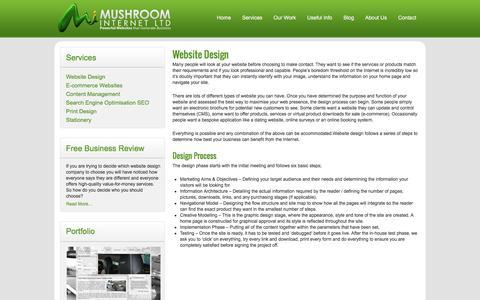 Screenshot of Services Page websitedesigngloucestershire.co.uk - Website Design - Mushroom Internet - captured March 3, 2016