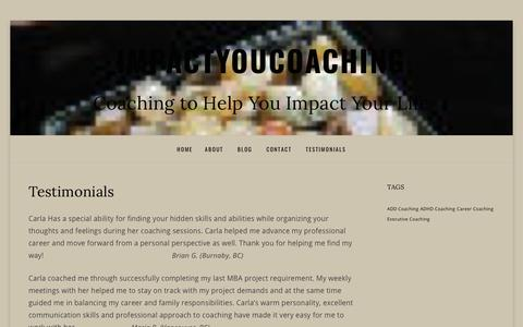 Screenshot of Testimonials Page impactyoucoaching.com - Testimonials – impactyoucoaching - captured Oct. 11, 2018