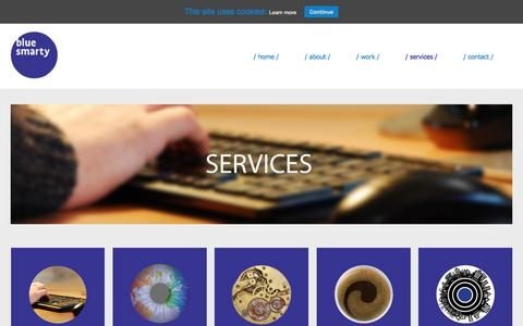Screenshot of Services Page blue-smarty.com - Blue Smarty Web Services - captured Aug. 2, 2018