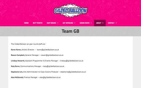Screenshot of Team Page gildedballoon.co.uk - Team GB   Gilded Balloon - captured July 13, 2016