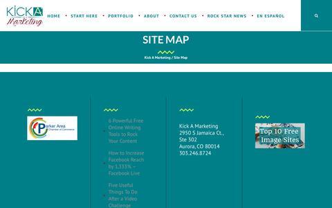 Screenshot of Site Map Page kickamarketing.com - Site Map · Kick A Marketing - captured Oct. 17, 2017