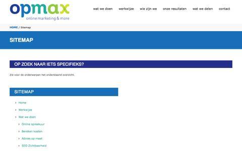 Screenshot of Site Map Page opmax.nl - Sitemap van Opmax.. Bekijk alle pagina's! - captured Sept. 18, 2014