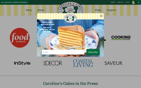 Screenshot of Press Page carolinescakes.com - Press | Caroline's Cakes | The Taste of Tradition - captured Nov. 4, 2018