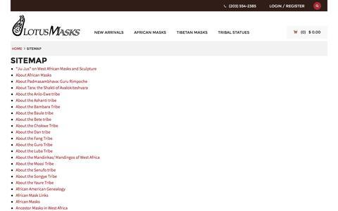Screenshot of Site Map Page lotusmasks.com - Sitemap - Lotus Masks - captured July 17, 2016
