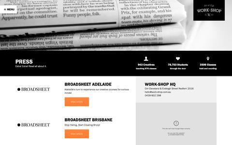 Screenshot of Press Page work-shop.com.au - Press - Work-Shop - captured Oct. 20, 2018