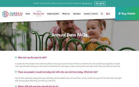Screenshot of FAQ Page eureka.org.uk - Annual Pass FAQs - Eureka! The National Children's Museum. - captured Aug. 29, 2017