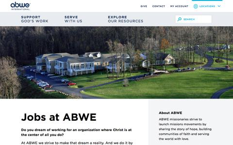 Screenshot of Jobs Page abwe.org - Mission Agency Jobs | Come Work For Us - ABWE International - captured July 28, 2018